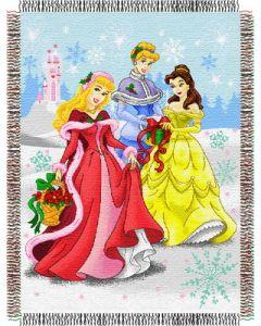"The Northwest Company Disney Princess-Dreamy Christmas Holiday 48""x60"" Metallic Tapestry Throw"