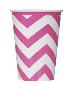Unique Industries Paper Hot & Cold Cups 12oz 6/Pkg-Hot Pink Chevron