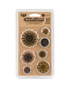 Prima Marketing Finnabair Mechanicals Metal Embellishments-Steampunk Gears 10/Pkg