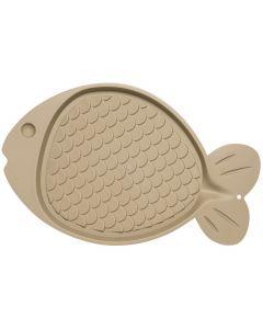 "Loving Pets Products Bella Spill-Proof Fish Shaped Cat Mat 19""X12""-Tan"