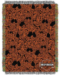 "The Northwest Company Harley Davidson Skull City 48""x60"" Tapestry Throw"