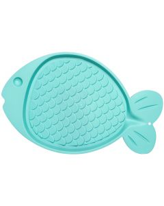 "Loving Pets Products Bella Spill-Proof Fish Shaped Cat Mat 19""X12""-Green"