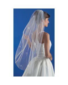 "Wilton Bridal Veil W/Rhinestones 38""-Blunt Edge"