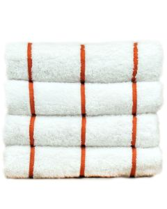 Bare Cotton Luxury Hotel & Spa Towel 100% Genuine Turkish Cotton Pool Beach Towels - Brick Red - Stripe  - Set of 2