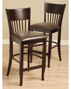 Warehouse of Tiffany Vera Leather and Wood Bar Chairs (Set of 2)