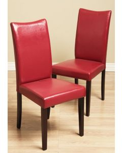 Warehouse of Tiffany Shino Red Bi-cast Leather Dining Chairs (Set of 2)