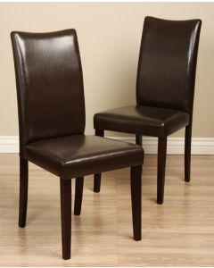 Warehouse of Tiffany Shino Brown Bi-Cast Leather Dining Chair (Set of 2)