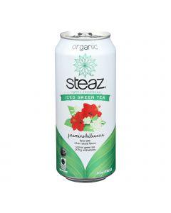 Steaz Lightly Sweetened Green Tea - Jasmine Hibiscus - Case of 12 - 16 Fl oz.