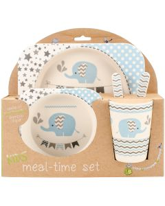 Mon Petit Chou Bamboo Fiber Kids Plate Set-Blue Elephant Party