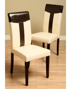 Warehouse of Tiffany Tiffany Leather Oak/ Black Dining Chair (Set of 2)