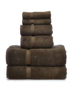 Bare Cotton Luxury Hotel & Spa Towel 100% Genuine Turkish Cotton 6 Piece Towel Set - Cocoa - Dobby Border