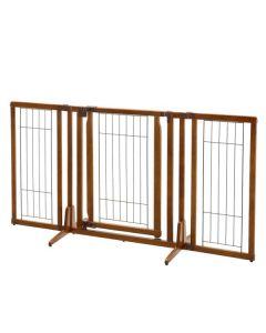"""Richell Premium Plus Freestanding Pet Gate with Door Brown 34"""" - 63"""" x 26"""" - 20.5"""" x 32"""""""