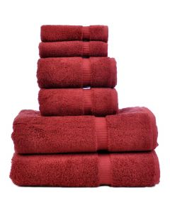 Bare Cotton Luxury Hotel & Spa Towel 100% Genuine Turkish Cotton 6 Piece Towel Set - Cranberry - Dobby Border
