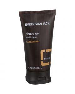Every Man Jack Shave Gel - All Skin Types - Sandalwood - 5 oz