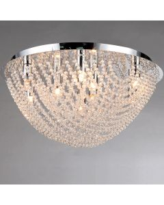 Warehouse of Tiffany Round Loran Crystal Flush-mount 9-light Fixture