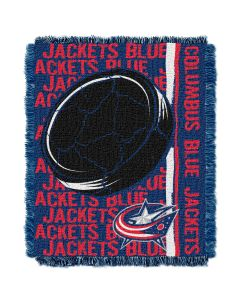 The Northwest Company Blue Jackets  48x60 Triple Woven Jacquard Throw - Double Play Series