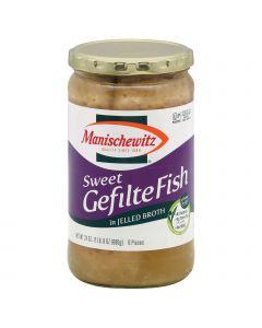 Manischewitz Sweet Gelfite Fish in Jelled Broth - Case of 12 - 24 oz.