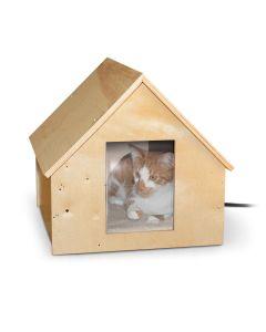 "Birdwood Manor Thermo-Kitty House - K&H Pet Products Birdwood Manor Unheated Kitty House Wood 18"" x 16"" x 15"""