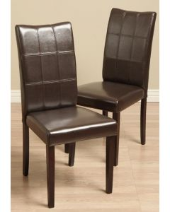 Warehouse of Tiffany Eveleen Bi-cast Leather Brown Dining Chairs (Set of 2)