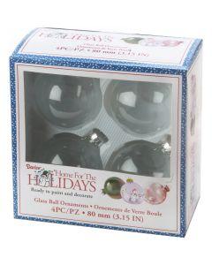 Darice Heavy Glass Ornament Balls W/Gold Filigree 80mm 4/Pkg-Clear