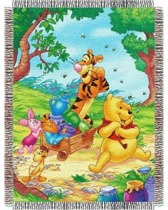 """The Northwest Company Pooh - Sweet Summer Day 48""""x60"""" Tapestry Throw"""
