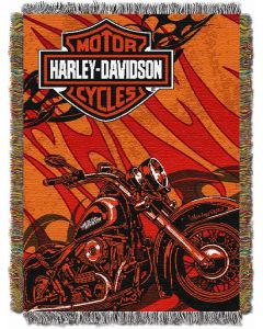 """The Northwest Company Harley Davidson Cycle  48""""x60"""" Tapestry Throw"""