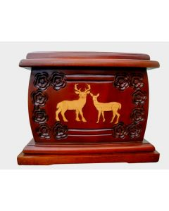 Urnporium Adult - wooden urns - funeral Cremation Urn Mahogany wood urn cherry wood onlay Deer Urn for Human Ashes