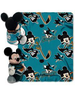 "The Northwest Company Sharks -Disney 40x50 Fleece Throw w/ 14"" Plush Mickey Hugger"