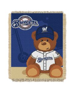 The Northwest Company Brewers  Baby 36x46 Triple Woven Jacquard Throw - Field Bear Series