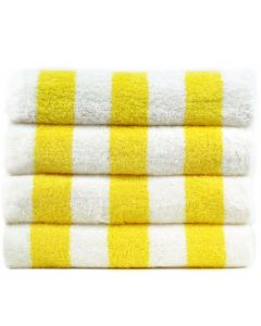 Bare Cotton Luxury Hotel & Spa Towel 100% Genuine Turkish Cotton Pool Beach Towels - Yellow - Cabana  - Set of 2