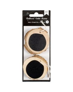 """American Crafts Chalkboard Wooden Tags 5/Pkg-2.25"""" Round"""
