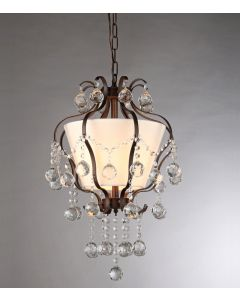 Warehouse of Tiffany Stacey Fabric Lampshade/ Antique Bronze and Crystal 4-light Chandelier