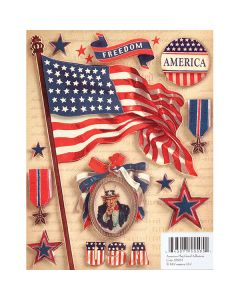 K&Company Military Grand Adhesions Embellishments-American Flag