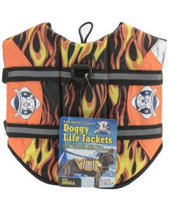 Fido Pet Products Paws Aboard Doggy Life Jacket Small-Racing Flames