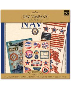 "K&Company K&CO Scrap Kit 12""x12""-Military - Navy"