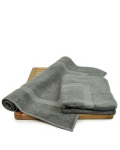 Bare Cotton Luxury Hotel & Spa Towel 100% Genuine Turkish Cotton Bath Mats - Gray - Dobby Border  - Set of 2