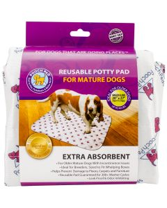 """PoochPad Reusable Absorbent Potty Pad For Mature Dogs-Medium 20""""X27""""-White"""