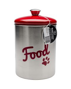 Buddy's Line NEW! Stainless Steel Pet Treat/Food Set 2/Pkg-Red Top