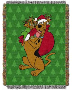 """The Northwest Company Scooby - Holly Scooby  Holiday 48""""x60"""" Metallic Tapestry Throw"""