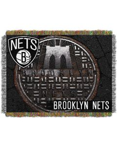 """The Northwest Company Brooklyn Nets Sewer Cap  """"Photo Real"""" 48x60 Tapestry Throw"""