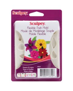 Polyform Sculpey Flexible Push Mold-Flowers & Leaves