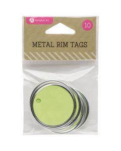 "Hampton Art Metal Rim Tags 10/Pkg-1.5"", Green"