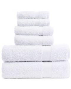Bare Cotton Luxury Hotel & Spa Towel 100% Genuine Turkish Cotton 6 Piece Towel Set -White- Bamboo