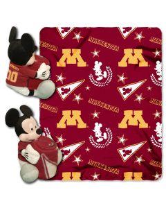 "The Northwest Company Minnesota College-Disney 40x50 Fleece Throw w/ 14"" Plush Mickey Hugger"