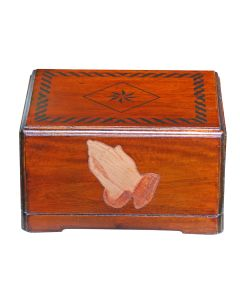 Urnporium mahogany wood URN-BT-PRAYING-HANDS-100855-MAH adult praying hands wooden cremation urn