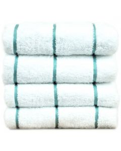 Bare Cotton Luxury Hotel & Spa Towel 100% Genuine Turkish Cotton Pool Beach Towels - Sea Green - Stripe  - Set of 2