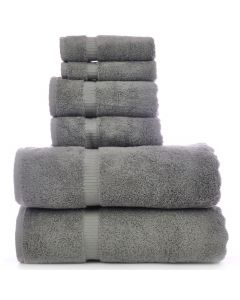 Bare Cotton Luxury Hotel & Spa Towel 100% Genuine Turkish Cotton 6 Piece Towel Set -Gray- Dobby Border