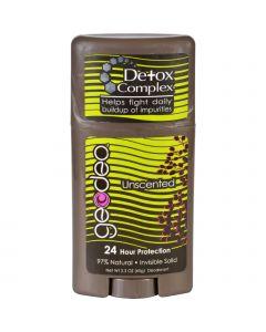 Geo-Deo Natural Deodorant - Plus Detox Complex - Unscented - Invisible Solid - 2.3 oz