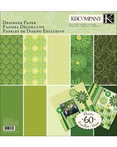 "K&Company Sheer Simplicity Designer Paper Pad 12""X12"" 60 Sheets-Green"
