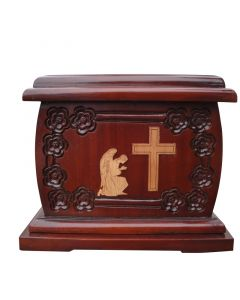 Urnporium Adult - wooden urns - funeral Cremation Urn Mahogany wood urn Angel Praying beside Cross cherry wood onlay Urn for Human Ashes